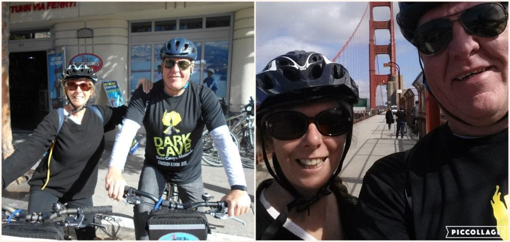 The Backpacking Housewife cycling the golden gate bridge