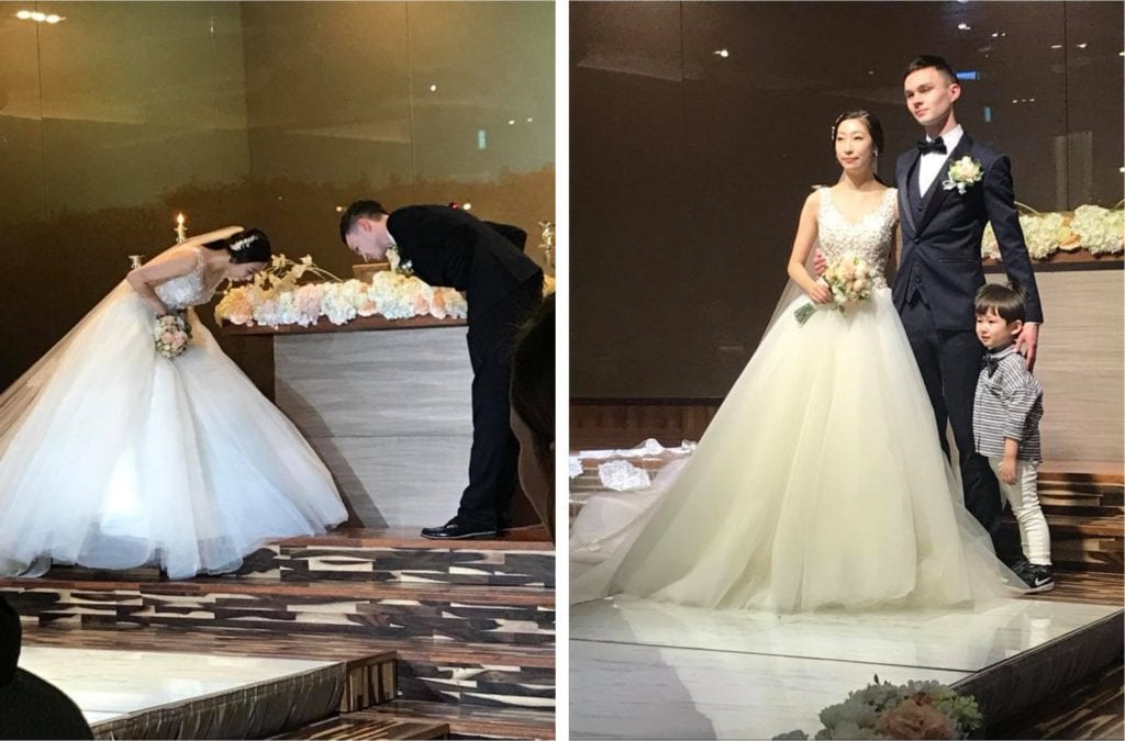 The Bride and Groom bow to each other to show mutual respect in the Korean Wedding