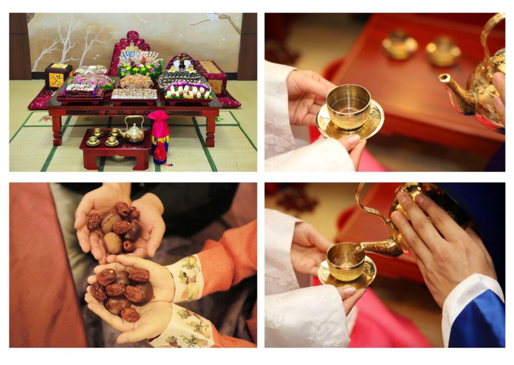 The Bride and Groom serve tea at the traditional Pyebaek Tea Ceremony wearing ceremonial robes