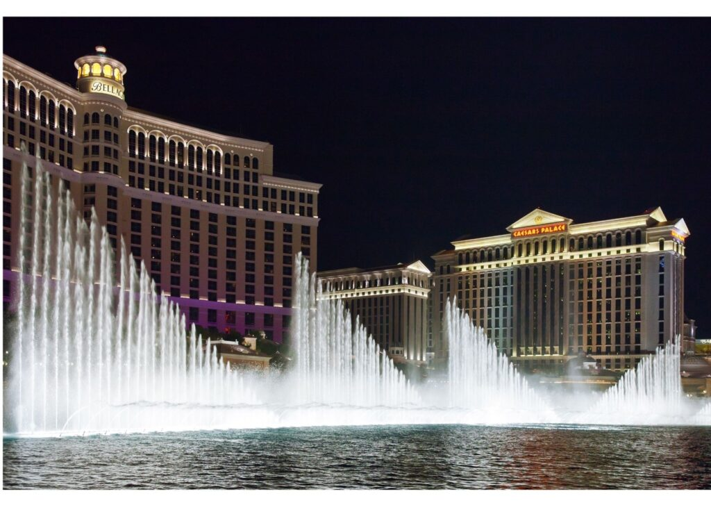 The water fountains at The Bellagio sway and swish to lights and music