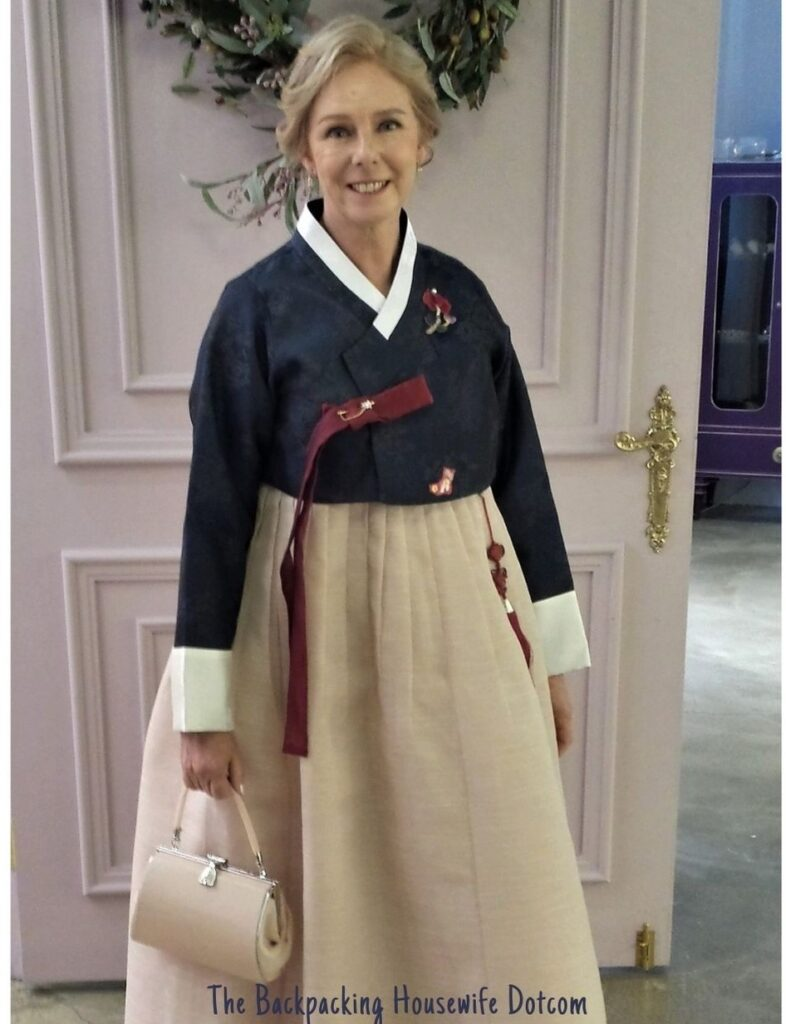 The Mother of the Groom wearing the traditional Korean wedding hanbok