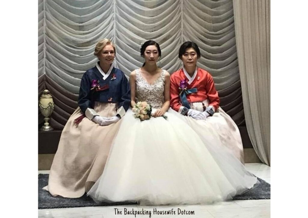 Mothers of the groom and bride wearing the wedding hanbok