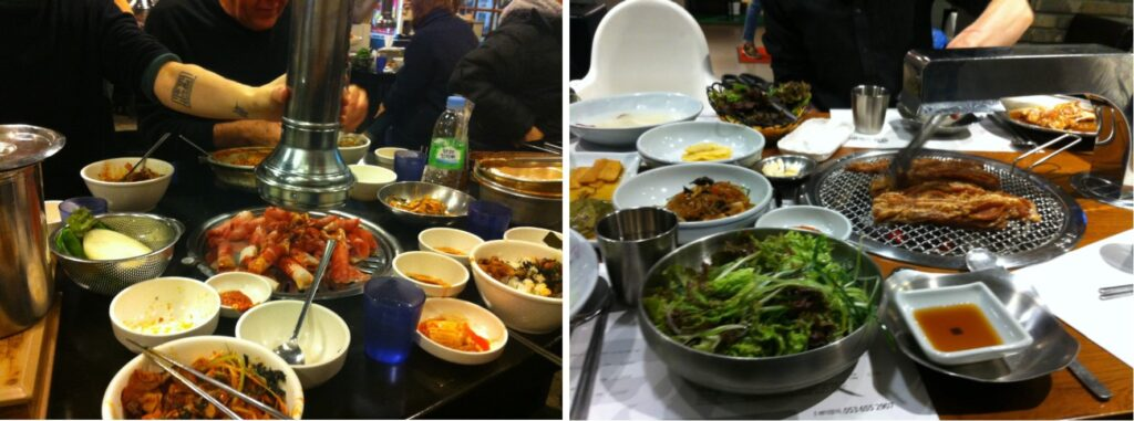 Eat Korean street food or at a Korean BBQ restaurant. Eat kimchi. Drink Soju