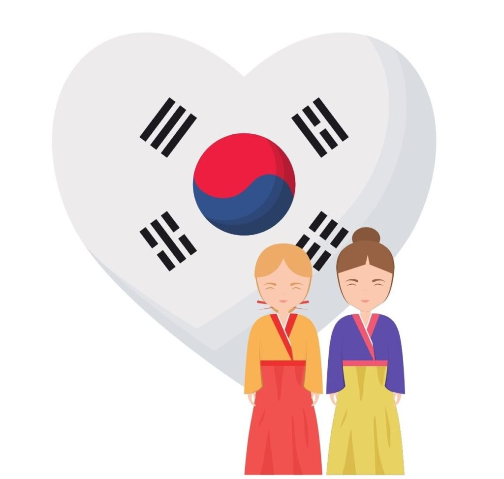 Korean flag heart women