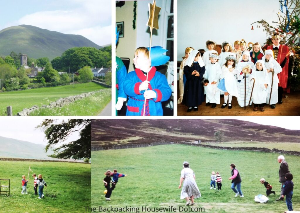 Durisdeer church nativity performance and sports on the hill at the back of the Manse garden