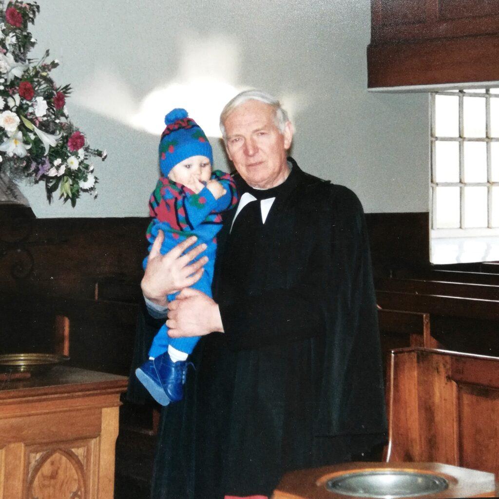 Rev William (Bill) Scott with my son in 1991