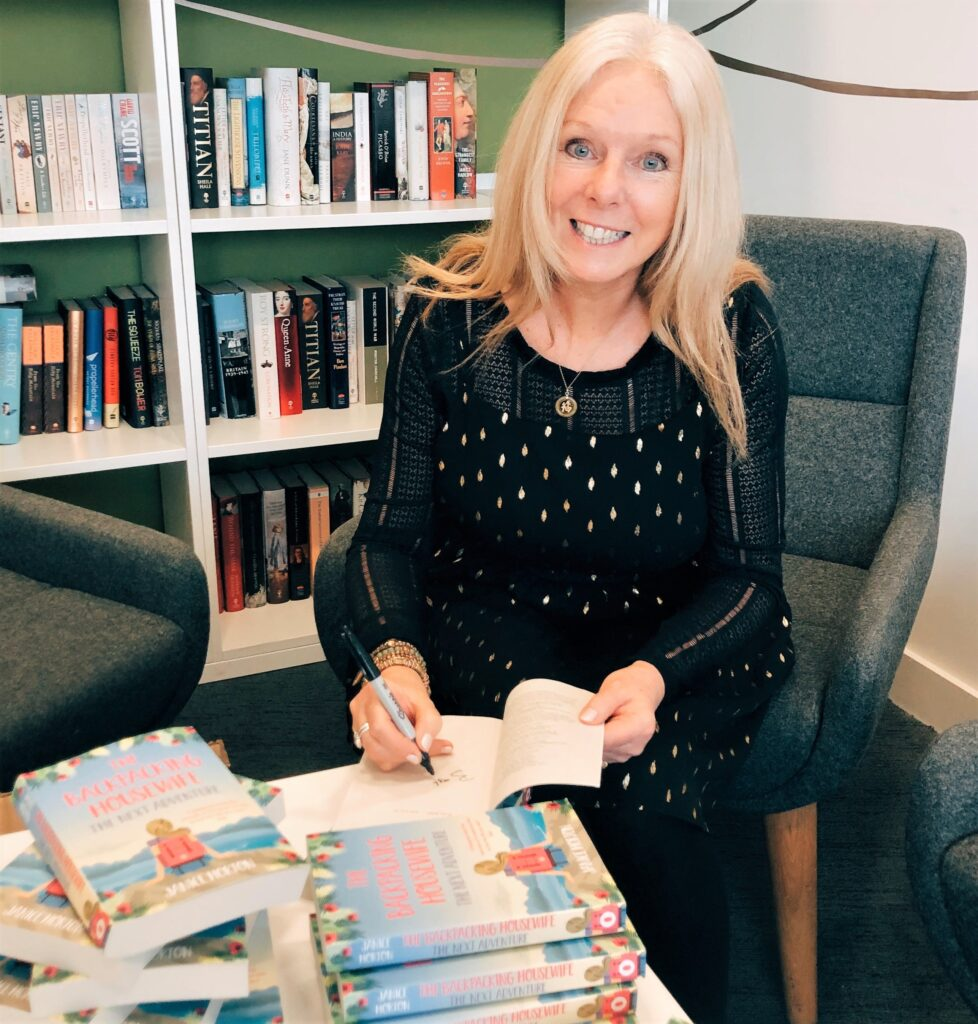 Janice Horton signing books at HarperCollins in London. The Backpacking Housewife
