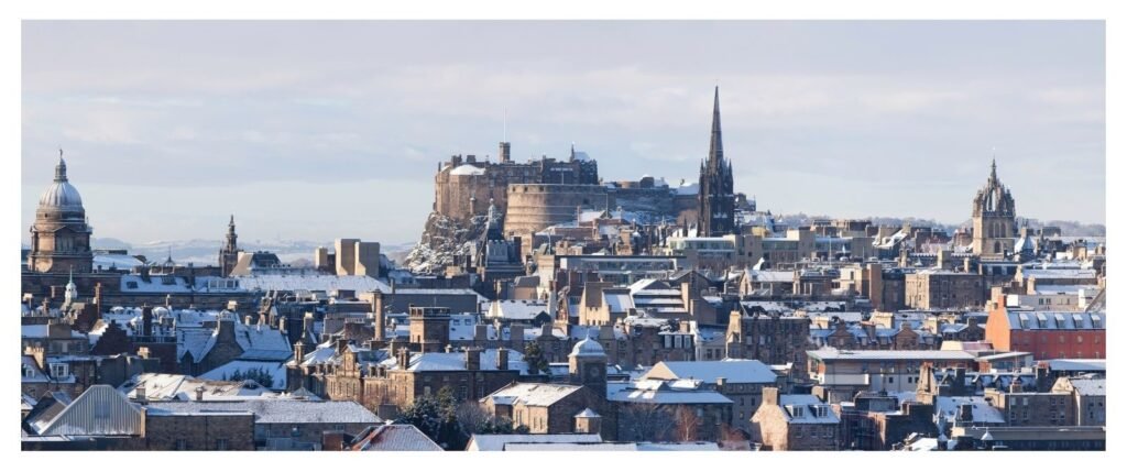 Scotland Edinburgh in snow winter