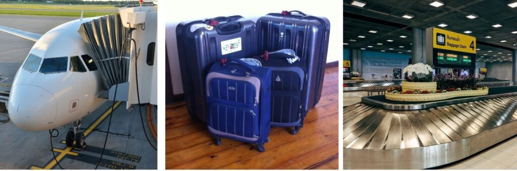 The Backpacking Housewife travelling with suitcases
