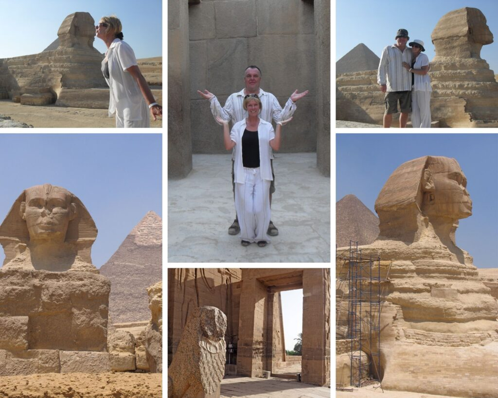 The Backpacking Housewife Janice Horton at The Sphinx Temple Cairo Giza Egypt