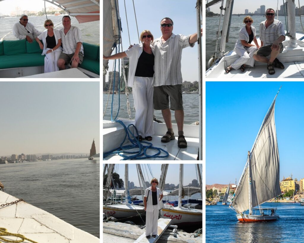 The Backpacking Housewife on a sailing felucca on The Nile Cairo Egypt