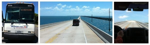 The Backpacking Housewife travelling by Greyhound Bus on the Seven Mile Bridge Florida to Key West